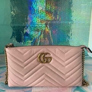 Gucci Matelasse Mini Gg Marmont Chain Pink Bag